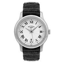 Rotary men's silver dial black leather strap watch - Product number 8379718