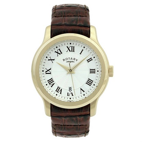 Rotary men's silver dial gold plated leather strap watch