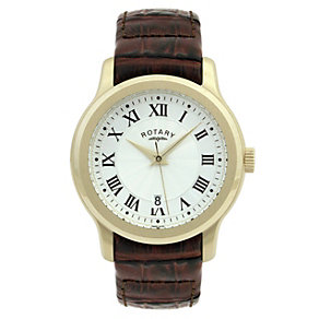Rotary men's silver dial gold plated leather strap watch - Product number 8379734