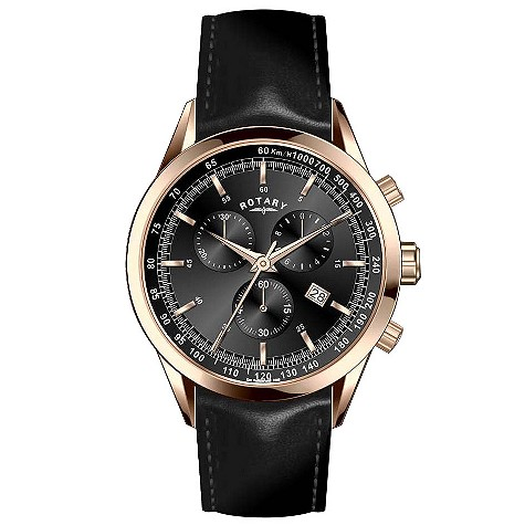 Exclusive Rotary rose gold and black chronograph watch
