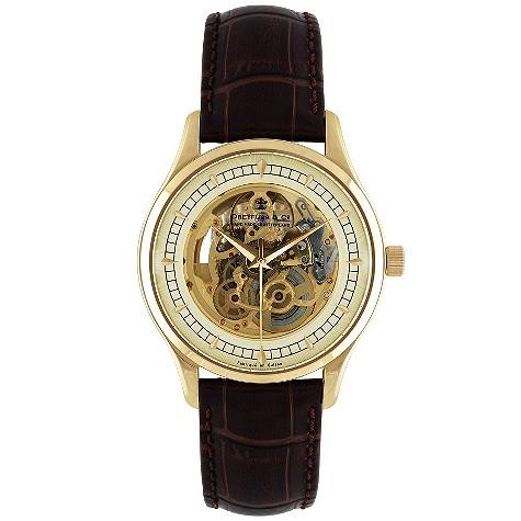 Dreyfuss & Co skeleton movement brown strap watch