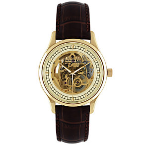 Dreyfuss & Co skeleton movement brown strap watch - Product number 8380279
