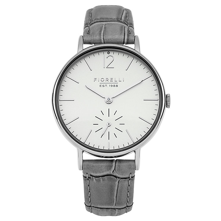 Fiorelli Ladies' Grey Leather Strap Watch - Product number 8389632