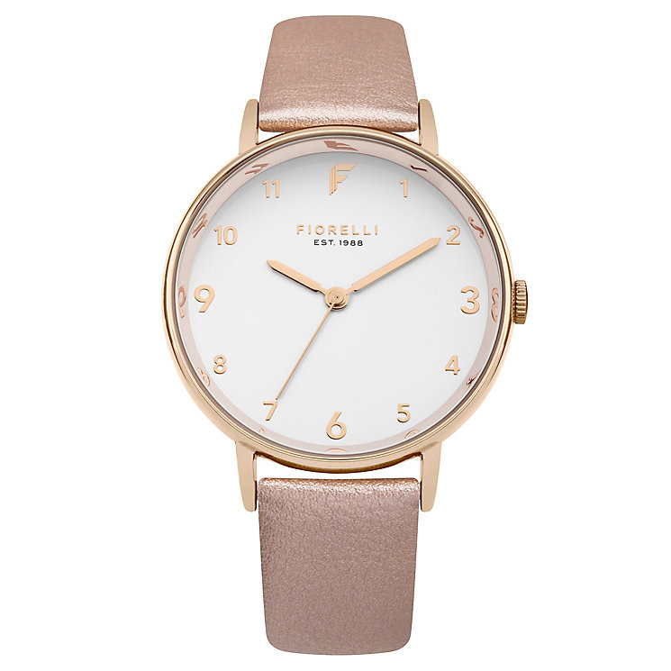 Fiorelli Ladies' Rose Gold PU Strap Watch - Product number 8389810