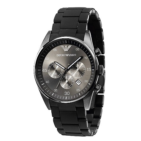 Emporio Armani men's chronograph black rubber strap watch - AR5889