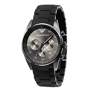 Emporio Armani men's chronograph black rubber strap watch - Product number 8394946