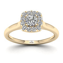 The Diamond Story 18ct Yellow Gold 0.50ct Cushion Halo Ring - Product number 8397341