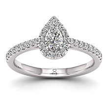 The Diamond Story Platinum 0.50ct Pear Halo Ring - Product number 8397473