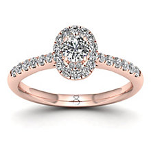 The Diamond Story 18ct Rose Gold 0.50ct Oval Halo Ring - Product number 8398062