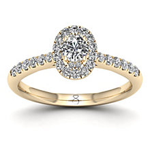 The Diamond Story 18ct Yellow Gold 0.50ct Oval Halo Ring - Product number 8398240