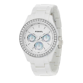 Fossil Stella Ladies' White Bracelet Stone Set Watch - Product number 8399743