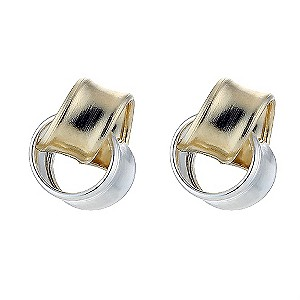 Silver and 9ct Gold Knot Stud Earrings - Product number 8400059