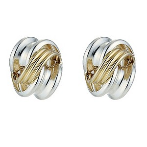 Silver and 9ct Gold Knot Stud Earrings Large - Product number 8400067