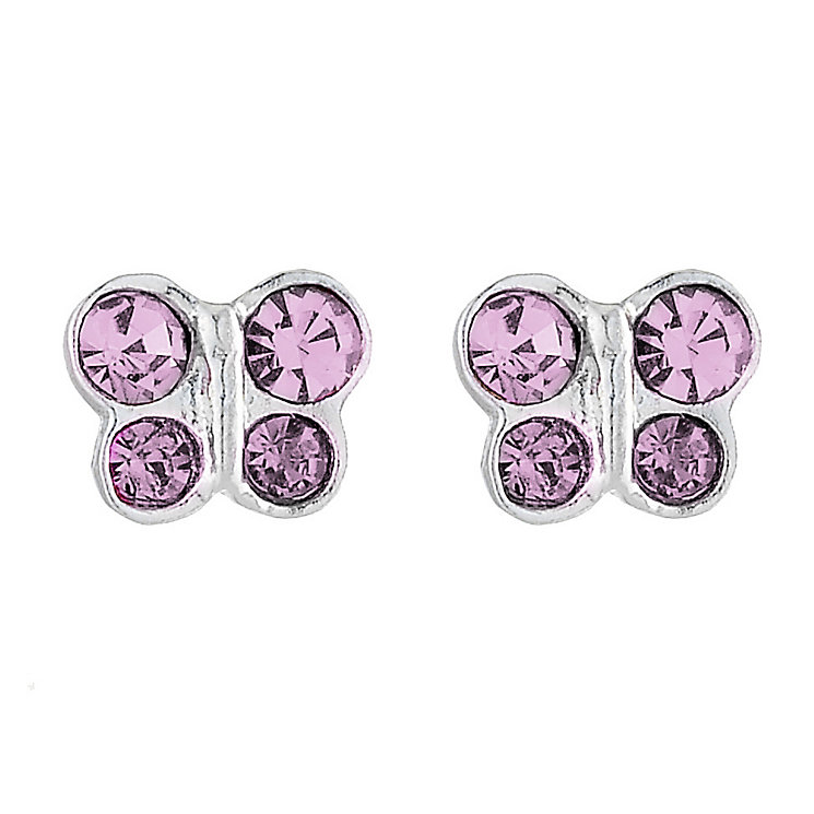 Sterling Silver Crystal Children's Butterfly Stud Earrings - Product number 8400148