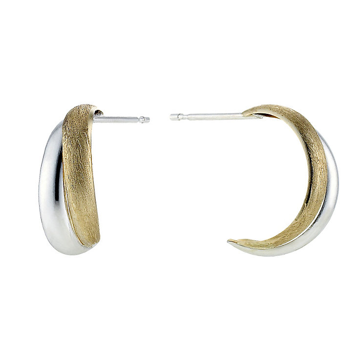 Silver and 9ct Gold Crossover Wedding Earrings - Product number 8400164