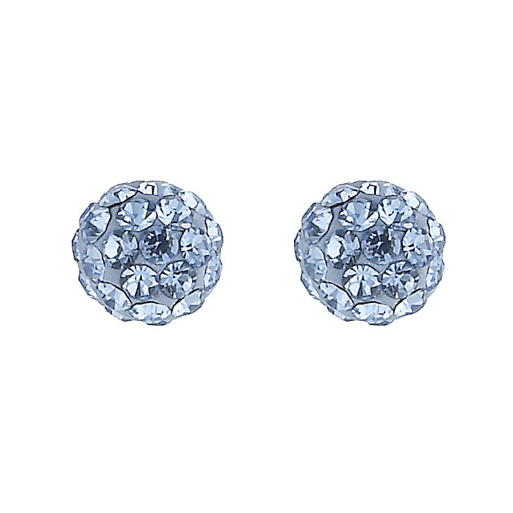 9ct Gold Blue Crystal Ball Stud Earrings - Product number 8400318