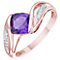 9ct Rose Gold Amethyst & Diamond Fancy Ring - Product number 8404852