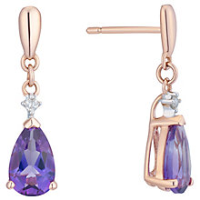 9ct Rose Gold Amethyst And Diamond Drop Earrings - Product number 8405212