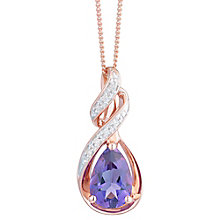 9ct Rose Gold Amethyst And Diamond Necklace - Product number 8405239