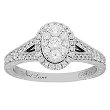 Neil Lane 14ct White Gold 0.62ct Oval Diamond Cluster Ring - Product number 8405670