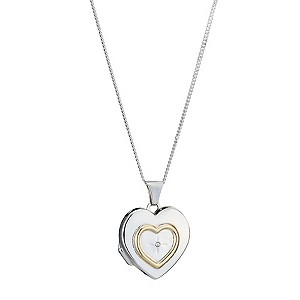Sterling Silver and 9ct Gold Diamond Set Heart Locket