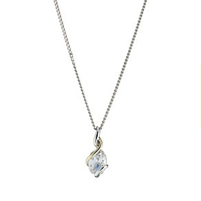 Silver and 9ct Gold Oval Cubic Zirconia Twist Pendant - Product number 8406529