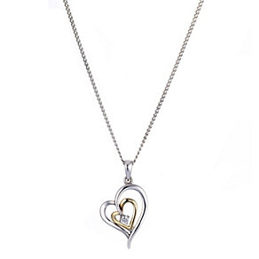 Silver and 9ct Gold Cubic Zirconia Double Heart Pendant - Product number 8406561