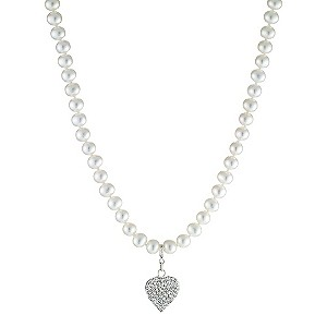Sterling Silver Freshwater Pearl Heart Charm Necklace