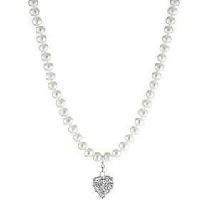 Sterling Silver Freshwater Pearl Heart Charm Necklace - Product number 8406626