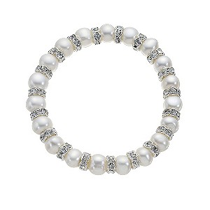 Silver Plated Crystal and Freshwater Pearl Stretch Bracelet - Product number 8406898