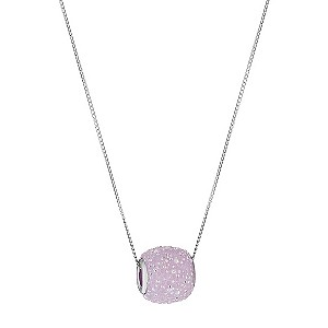 H Samuel 9ct White Gold Pink Sugar Crystal Slider Pendant product image
