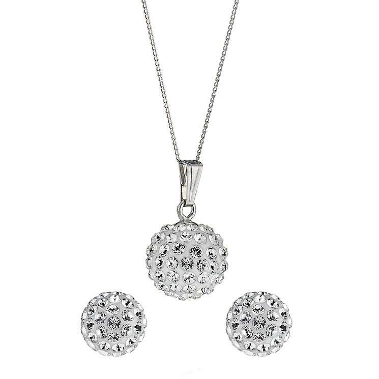 Evoke 9ct White Gold Crystal Ball Pendant and Earrings Set - Product number 8407258