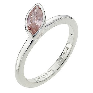 Truth Clique Silver Oval Pink Cubic Zirconia Ring - Size L