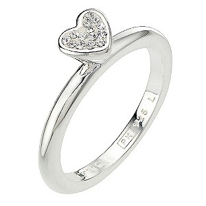 Truth Clique Sterling Silver Crystal Heart Ring - Size L