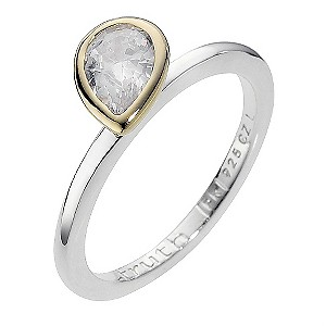 Truth Clique Silver Gold Plated Cubic Zirconia Ring - Size L