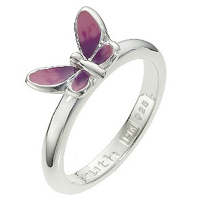 Truth Clique Sterling Silver Enamel Butterfly Ring - Size P