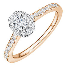 Tolkowsky 18ct Rose Gold 0.50ct Oval Diamond Halo Ring - Product number 8413401