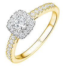 Tolkowsky 18ct Yellow Gold 0.50ct Cushion Halo Diamond Ring - Product number 8413665