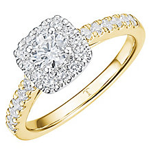 Tolkowsky 18ct Yellow Gold 0.75ct Cushion Halo Diamond Ring - Product number 8414084