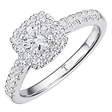Tolkowsky Platinum 0.75ct Cushion Halo Diamond Ring - Product number 8414343