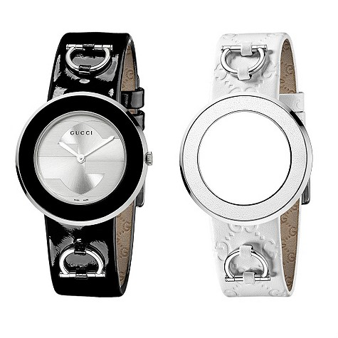 Gucci U-Play black and white interchangeable strap watch.