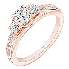 Tolkowsky 18ct Rose Gold 0.75ct II1 3 Stone Diamond Ring - Product number 8415897