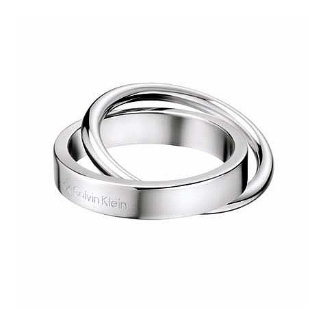 Calvin Klein Coil stainless steel double ring - size 6