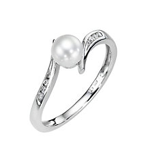 9ct White Gold Cubic Zirconia Freshwater Pearl Twist Ring - Product number 8418489