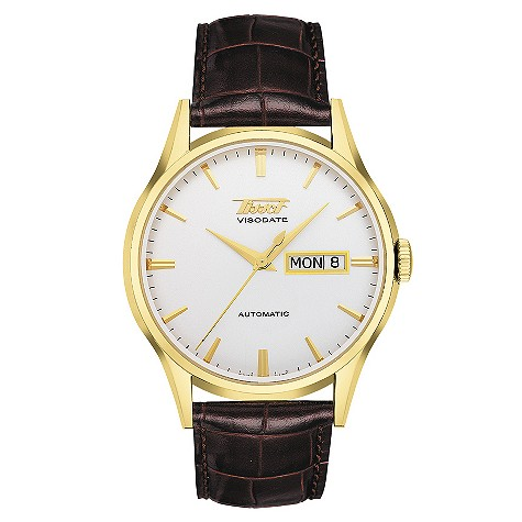 Tissot Heritage Visodate gold plated brown strap watch