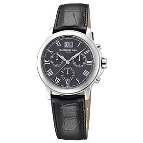 Raymond Weil men's grey dial chronograph leather strap watch - Product number 8420297