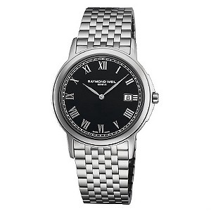 Raymond Weil men's black dial stainless steel bracelet watch - Product number 8420300