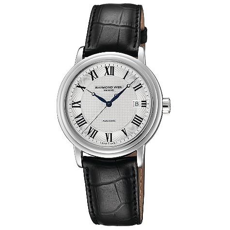 Raymond Weil silver dial black strap watch