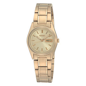 Seiko Ladies' Champagne Dial Gold Plated Bracelet Watch - Product number 8422206