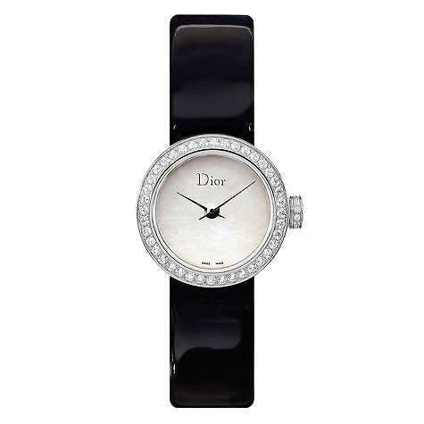 Christian Dior white mother of pearl black strap watch
